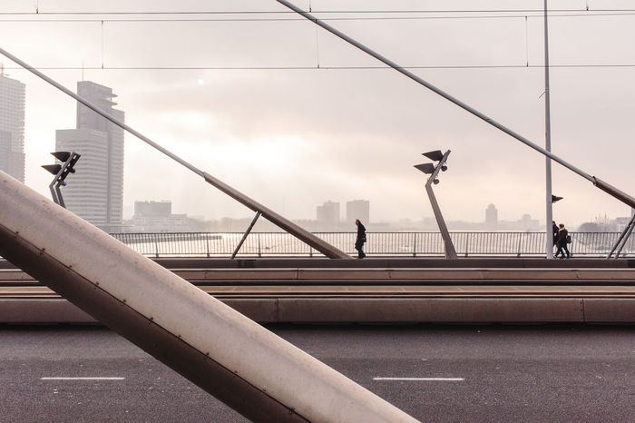 Architecture Bridge - Man Made Structure City Cityscape Cool Tones Day Diagonal Erasmus Bridge Outdoors Road Rotterdam Silhouette Street Suspension Bridge Urban Skyline