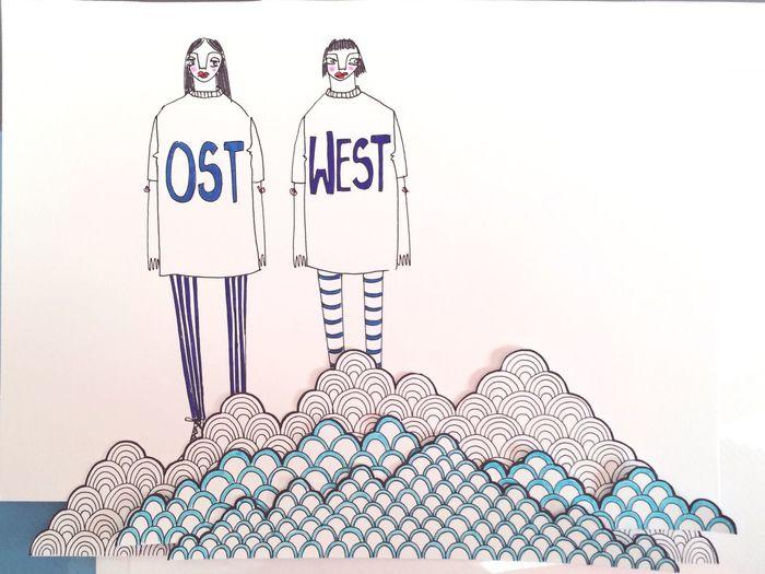 Love East West Illustration Twins