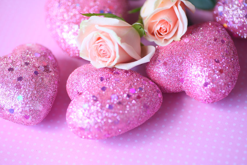 Glittery pink hearts on polka dots with miniature roses Copy Space Feminine  Holiday Love Natural Light Polka Dots  Romantic Sentimental Textures Valentine's Day  Celebration Close-up Day Flowers Girly Glittery No People Pink Color Pink Hearts Room For Text Roses Studio Shot Symbols