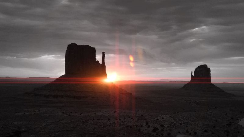 Dawn caught the valley with clouds and no one else around. Monument Valley Tribal Park Utah Scenery Utah Desert Utah Beauty Utah Tranquil Scene Travel Destinations Horizon Over Land Tourism Lens Flare Cloud - Sky Tranquility Dawn Of A New Day Myownphotography My Favorite Place EyeEm Present Eyesee Monument Valley