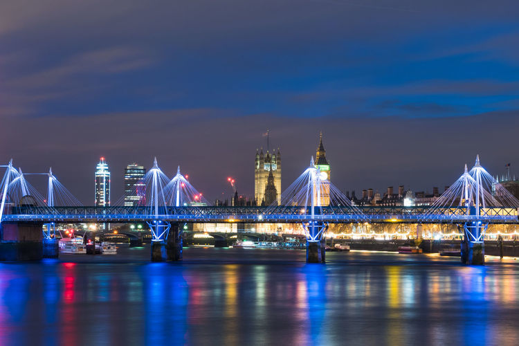 London at night Architecture Sky Illuminated Water Built Structure Bridge Waterfront River Connection Bridge - Man Made Structure City Building Exterior Transportation Travel Destinations Night Nature No People Cloud - Sky Outdoors Cityscape London Great Britain Big Ben Skyline England
