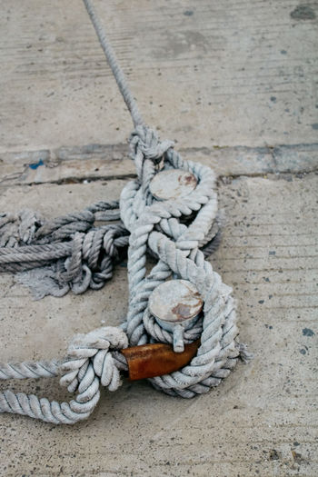 High angle view of rope tied on wood at harbor