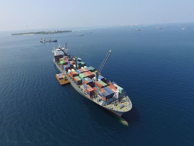 Maldives Sea Container Ship Transportation Mode Of Transport Nature Outdoors Djiphotography Phantom 3 Phantom3photography ArealPhotography Dronephotography