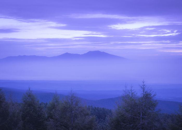 Asamayama Mountain Beautiful Sunrise Silhouette Sunrise_Collection Beauty In Nature Cloud - Sky Idyllic Mountain Mountain Range No People Non-urban Scene Purple Purple Color Purple Sky Scenics - Nature Sky Sunrise Sunrise_sunsets_aroundworld Tranquil Scene Tranquility Tree Yatsugatake