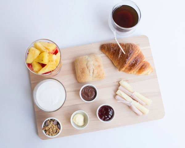 High Angle View Indoors  Food And Drink Sweet Food Bowl No People Studio Shot White Background Food Nutella Freshness Food Styling Yogurt Croissant Bread Healthy Eating Breakfast Brunch Eating Ready-to-eat Coffee Cup Freshness Table Coffee - Drink Still Life