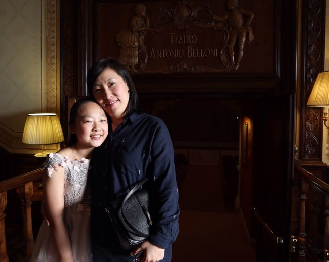 Pianist Monica Zhang and her mother at Belloni Theater Barlassina Milan Italy Belloni Theater
