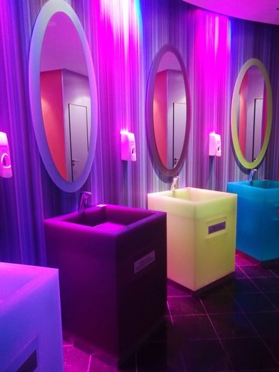 changeable color hand wash basins at Cork International Hotel.... Neon Pink Color Luxury Purple Illuminated