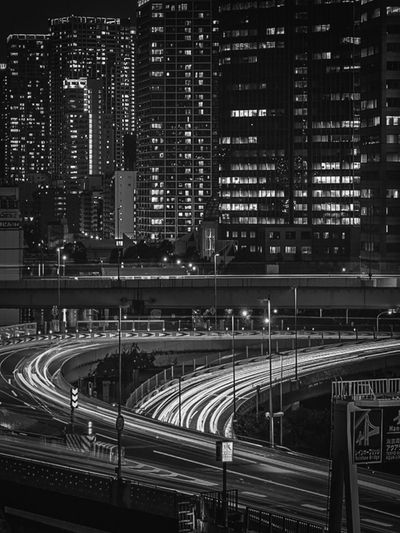 High angle view of illuminated bridge in city