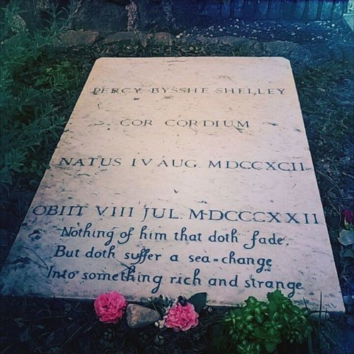Percy Bisshe Shelley's Grave in Campo Cestio Graveyard