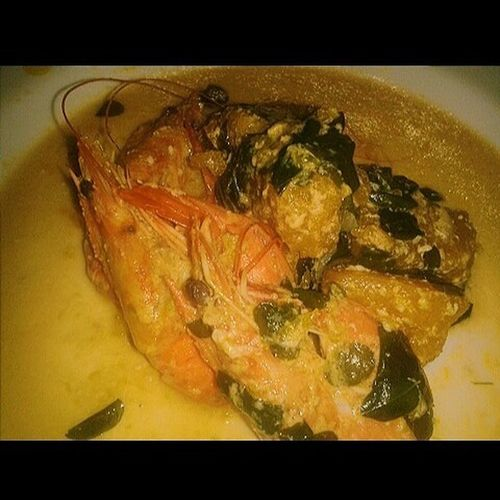 Shrimps! 🍝 Gata ♡ Yummy! Food Delicious ♡ Love ♥ Seafood Food And Drink Freshness No People Healthy Eating Indoors  Close-up Day Malunggay Leaves