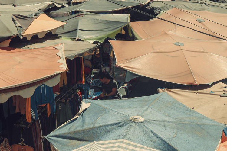 High angle view of tent at market stall