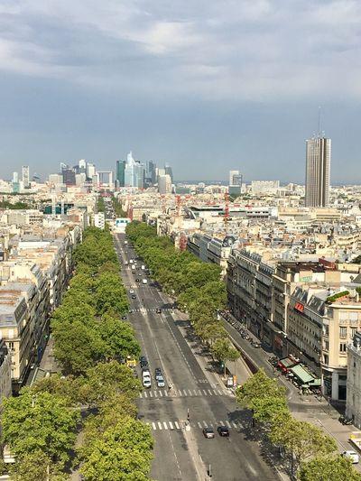 High angle view of paris and la défense