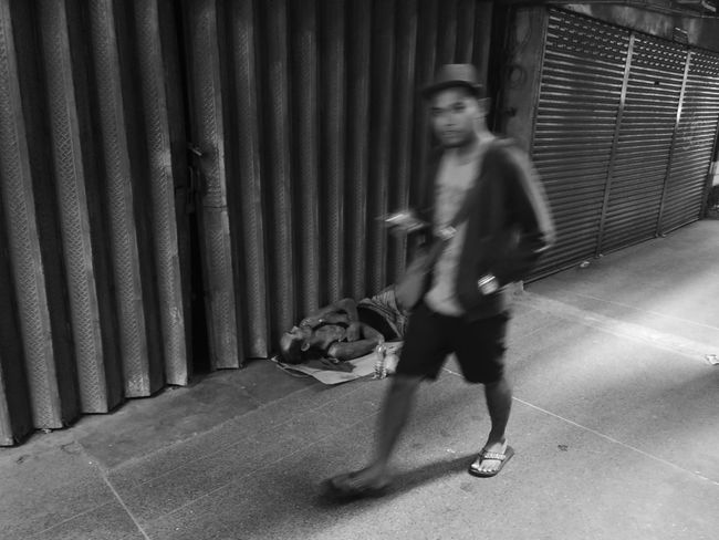 Sleep..Walking Architecture Black And White City Corrugated Iron Day Eyeem Philippines Full Length Huawei Mate 9 Huaweimate9 Kokopaps Leisure Activity Lifestyles Looking At Camera Mobile Photography Monochrome One Person Outdoors People Portrait Real People Smartphone Photography Taking Photos Walking Young Adult Young Women