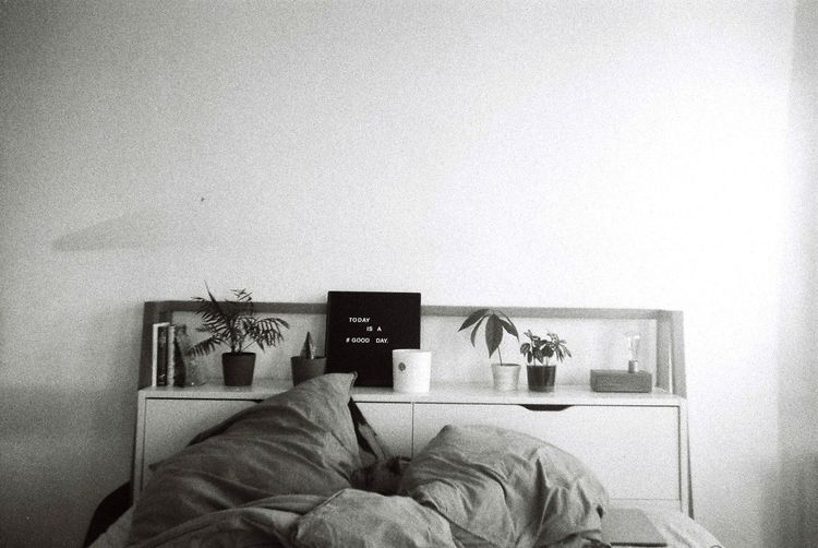 Man photographing book in bedroom