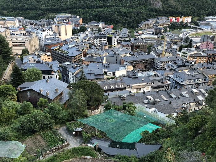High angle view of townscape