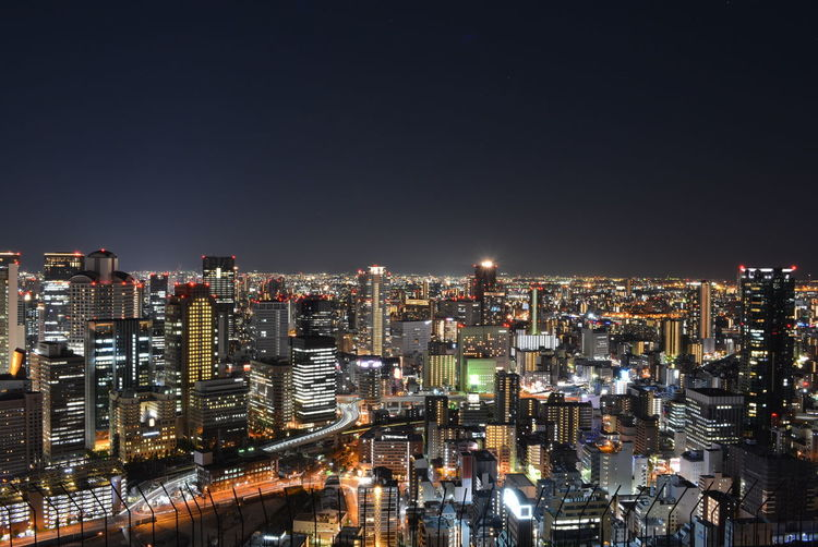 Osaka,Japan Japan City Cityscape Urban Skyline Illuminated Modern Skyscraper High Angle View Sky Architecture Building Exterior Light Trail High Street