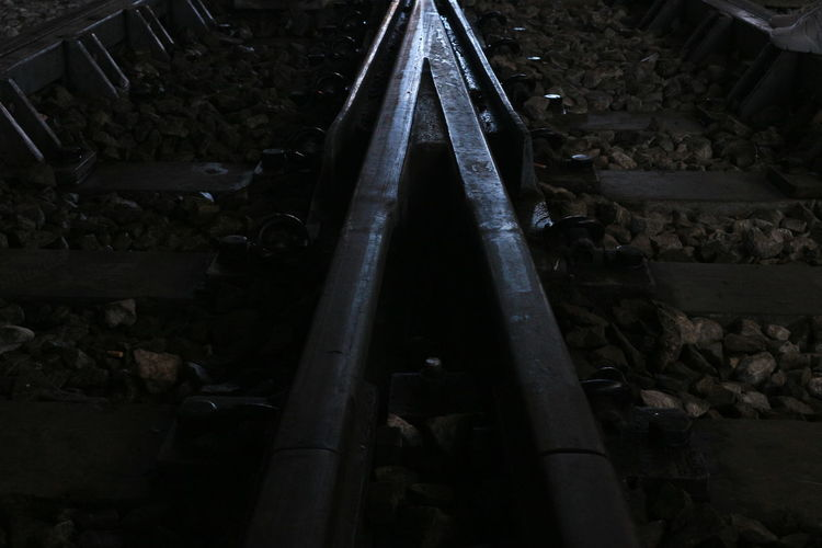 Low angle view of railroad tracks