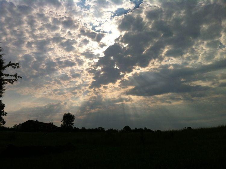 Beauty In Nature Cloud - Sky Cloudscape Cumulus Cloud No People Non-urban Scene Outdoors Remote Silhouette Sky Sunbeam