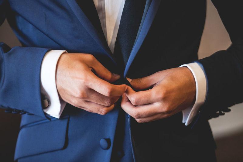 Close-up of bridegroom wearing blazer