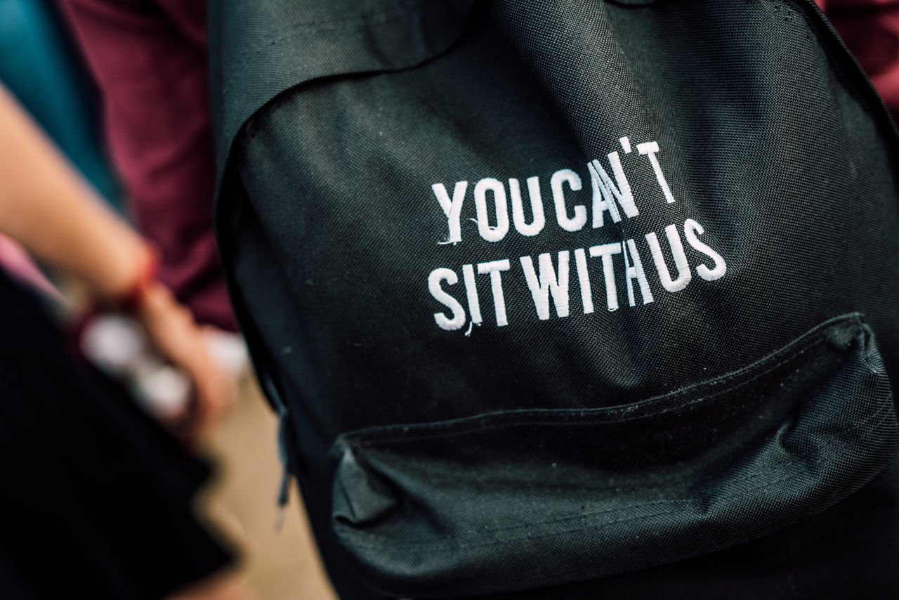 Close-Up Of Backpack With Text