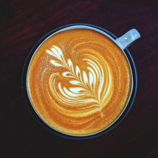 Froth Art Cappuccino Drink Latte Flower High Angle View Coffee Cup Coffee