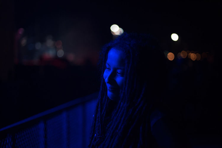 kind of blue Adults Only Close-up Focus On Foreground Headshot Illuminated Lighting Equipment Mid Adult Night One Person One Woman Only Only Women People Real People