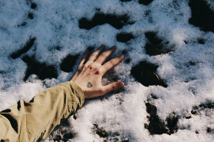 Cropped image of hand on snowy field