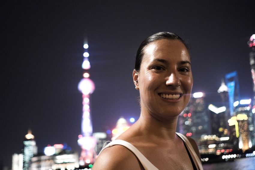 Night Portrait City One Person Headshot Looking At Camera Building Exterior Real People Happiness Cheerful 23mmf2 Fujifilm Xpro2 Fujifilm_xseries Happiness Looking At Camera Shanghai Street Street Light Smiling City
