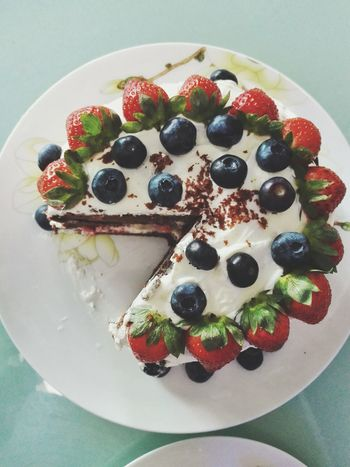 birthday cake Handmake Blueberry Fruit No People SLICE Plate Ready-to-eat Freshness Close-up Indoors  Day