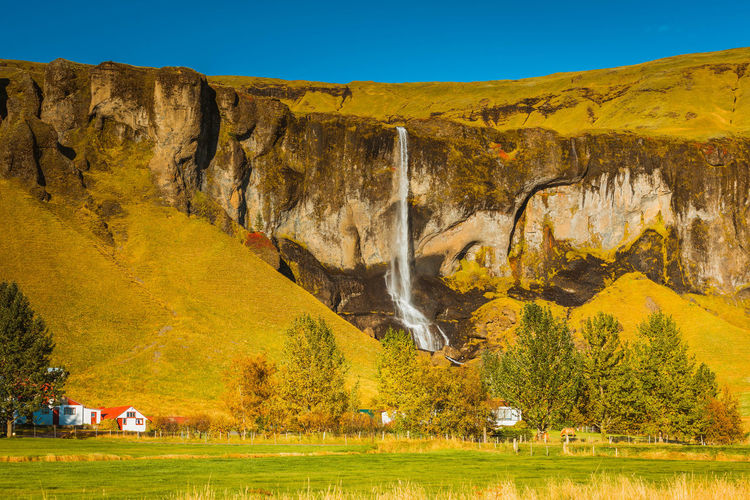 Beauty In Nature Day Iceland Nature No People Outdoors Scenics Sky Travel Destinations Waterfall Yellow
