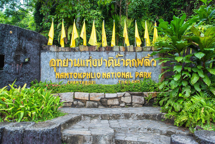CHANTHABURI , THAILAND - MAY 18 , - 2019 : Symbol notice board at Namtok Phlio National Park at Chanthaburi,Thailand. Park Phlio National Namtok Thailand Waterfall Chanthaburi Nature Green Tropical Outdoor Landscape Beautiful Natural Travel Leaf Forest Rock Beauty Summer Water Fresh Tree Environment Sign Trees Stone Mountain River Wild ASIA Fall White Light Freshness Wet Closeup Season  Province Symbol Board Plant Spring