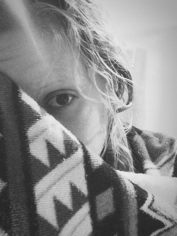 Depression. Indoors  Portrait People Close-up Day Adult Lonely Alone Shower Towel Sad Emotion Sadness Black And White Black And White Portrait Self Portrait Depressed Depression One Eye Peeking Out Hiding Hiding From The World