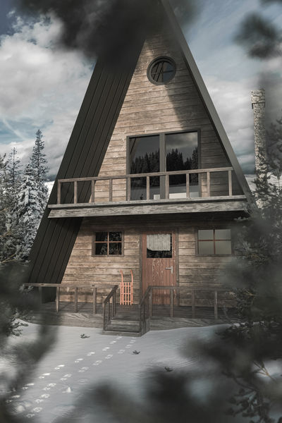 A-frame wooden cabin in snowy winter landscape with blurred fir trees leaves Architecture A-frame Building Exterior Cold Temperature Winter Fir Trees WoodLand Forest Wooden House Wooden Cabin Outdoors Wood - Material Spot Environment Land Snow Vacation Architecture Footsteps Lodge Flat Exterior
