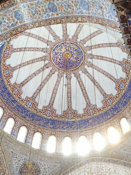 Dome Blue Mosque Istanbul Turkey Architecture Indoors  Ornate Mosque History Journey Traveling Ceiling Me Around The World Famous Place