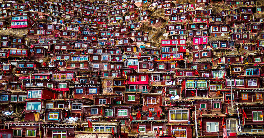 Monk's housing in Larung Gar, China Abundance Buddhism Buddhist China Compact Day House Housing Monk  Multi Colored Red Travel Travel Destinations Travel Photography Windows First Eyeem Photo Adapted To The City