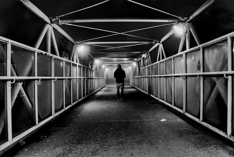 Bridge Brücke One Person Rear View Walking The Way Forward Bridge - Man Made Structure Real People Night Railing One Man Only Silhouette People Standing Built Structure B&w Nacht Nachtfotografie Nachtaufnahme 0711 Null7elf Stuttgart Eyeem0711 Welcome To Black The Secret Spaces Resist Black And White Friday
