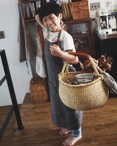 Child Childhood Smiling Basket Business Finance And Industry Home Interior Standing