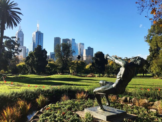 Melbourne City Architecture City Skyscraper Building Exterior Growth Sculpture Statue Outdoors Built Structure Tree Day Clear Sky No People Water Nature Modern Spraying Sky Cityscape Grass