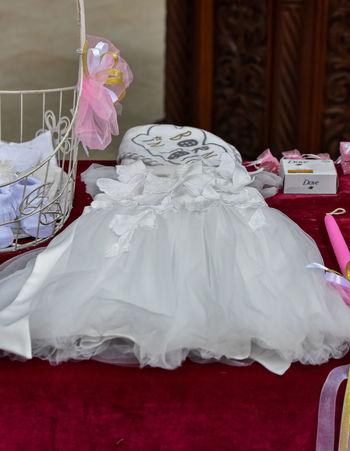 Baby Dress Baptism Christening Church Close-up Detail Dress Indoors