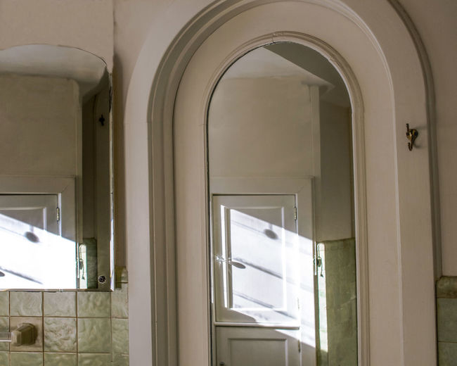 Mirror Reflection Arch Architecture Bathroom Built Structure Day Door Doorway Entrance Glass - Material House Indoors  No People Old Bathroom Open Tile Towel Hook Transparent Vintage Bathroom White Color Window The Architect - 2018 EyeEm Awards