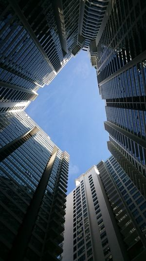 From botton Skyscraper Low Angle View City Architecture Sky Modern Building Exterior Outdoors Futuristic Built Structure No People Close-up Day Architecture Urban Skyline City