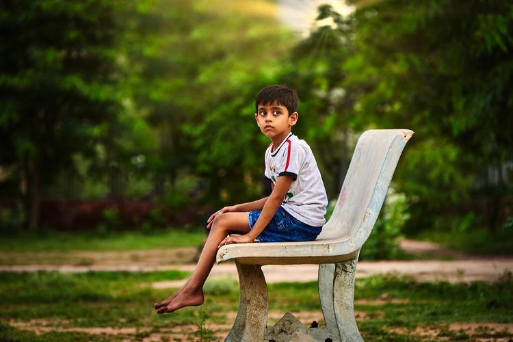 A kid sitting