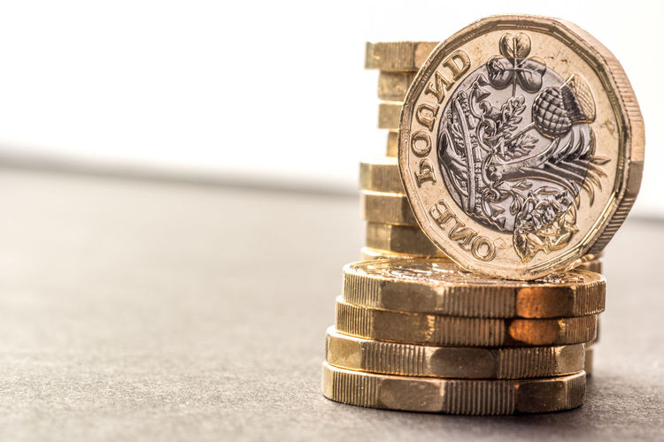British New One Pound Coin Theme Background British Chart Coin Exchange Golden Hour Growth Investment Macro Money Money Money Money New One Person Pile Pound Rate Saveing Shiny Stack Sterling Tourism Wealth