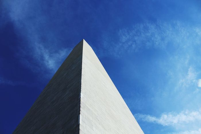 Triangle Shape Sky Cloud - Sky Low Angle View Outdoors No People Day Washington Monument Built Structure City Washington, D. C. National Icon Monument