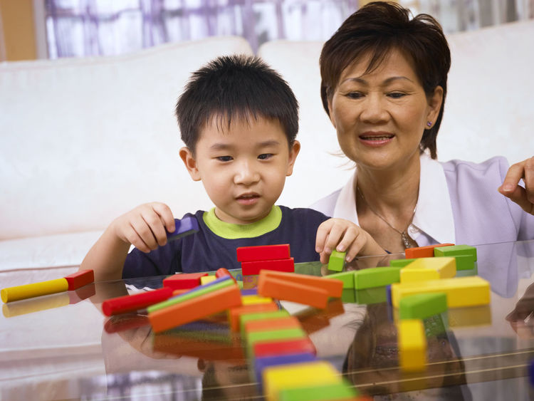grandmother and grandson playing colorful wooden block At Home Grandmother And Grandson Happiness Learning Stack Boys Childhood Colorful Cute Day Education Elementary Age Front View Home Interior Indoors  Learning Leisure Activity Lifestyles Playing Real People Sitting Togetherness Toy Toy Block Two People