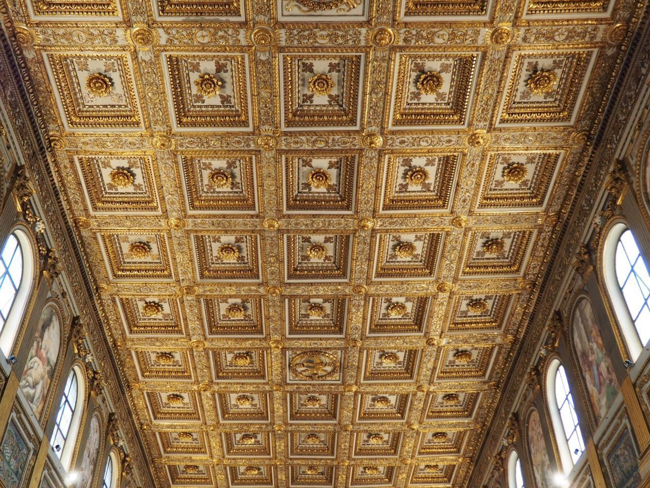 ceiling, design, pattern, architecture, low angle view, indoors, architectural feature, built structure, no people, travel destinations, day