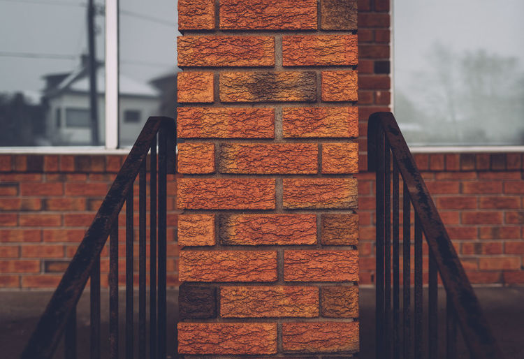 Low angle view of brick column