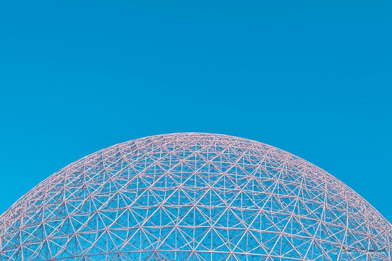 Montreal Biosphere Copy Space Blue Clear Sky Low Angle View Arts Culture And Entertainment No People Architecture Sky Close-up Outdoors Day Semi-circle Biosphere Abstract Sky Contrast Colour Your Horizn