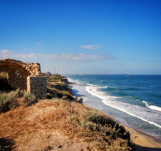 Sea Water Beach Sky Blue Shore Coastline Cloud Nature Cliff Isreal  Ashkelon
