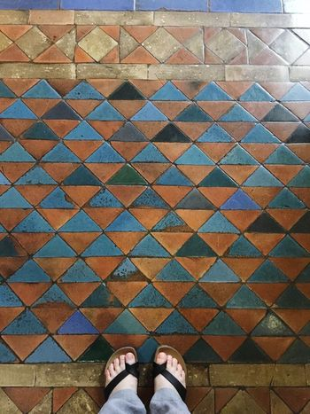 Decoration Ancient Floor Medieval Architecture Low Section Human Leg Personal Perspective Human Foot Pattern Tiled Floor High Angle View Indoors  Multi Colored Flooring Floor